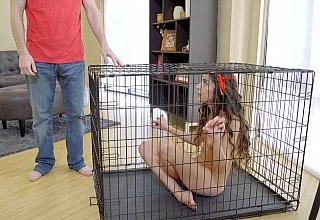 Caged stepdaughter punished